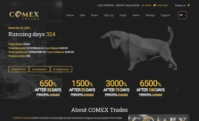 HYIP screenshot  COMEX Trades Limited