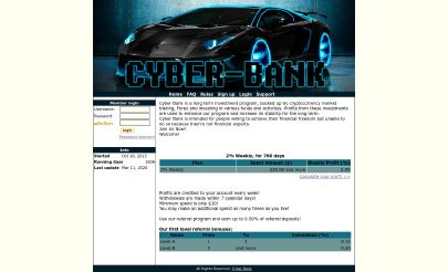 HYIP screenshot  Cyber Bank