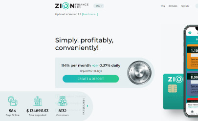 HYIP screenshot  ZION FINANCE LTD