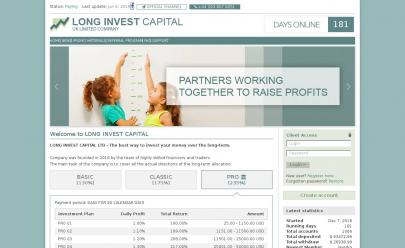 Captura de pantalla de HYIP LONG INVEST CAPITAL LTD